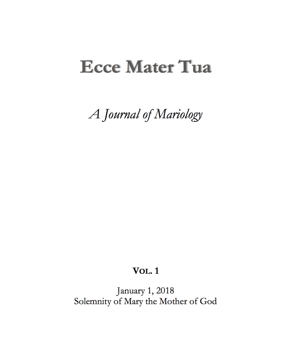 Ecce Mater Tua Vol. 1 Cover